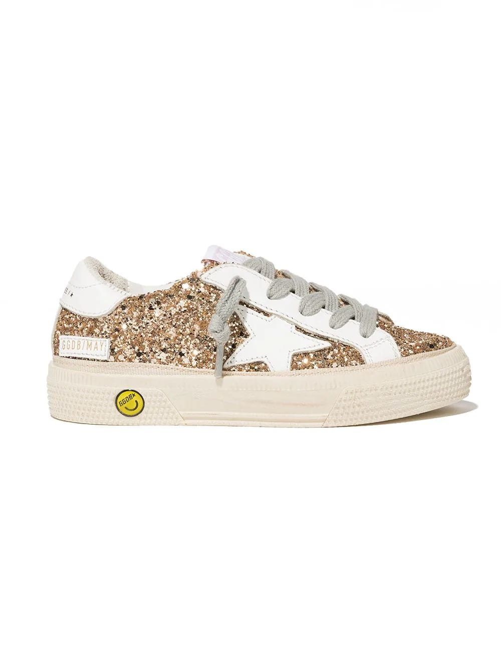 Golden Goose Junior Gold Glittered Super-star Sneakers With White Star