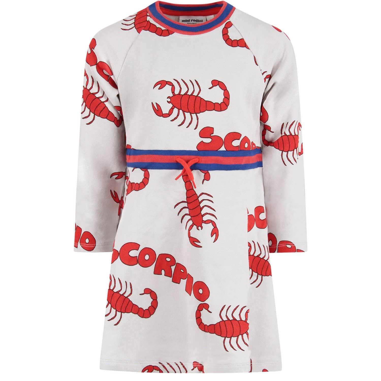 Mini Rodini Grey Girl Dress With Red Scorpions