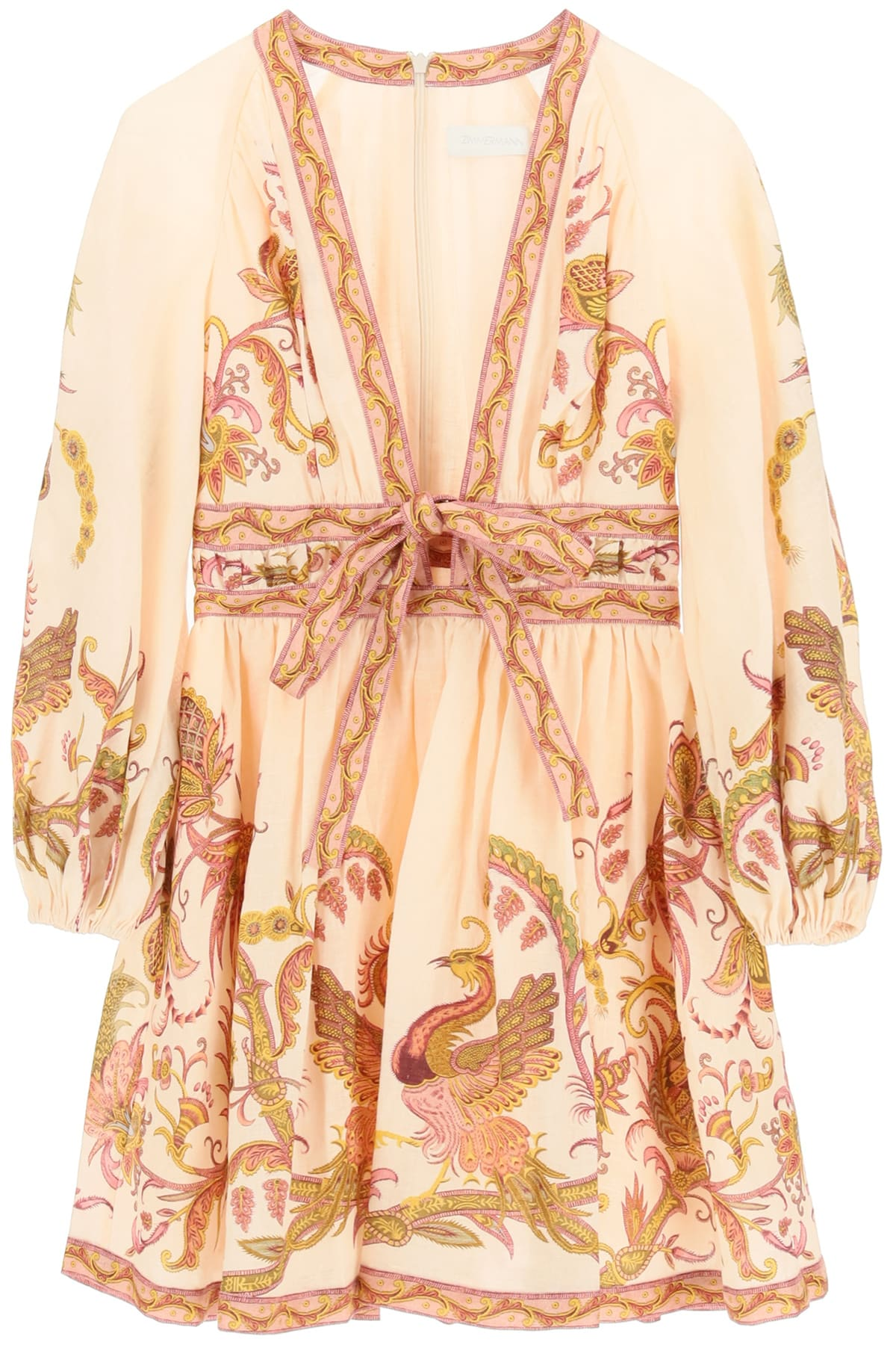 Buy Zimmermann Bird Floral Print Mini Dress With Bow online, shop Zimmermann with free shipping