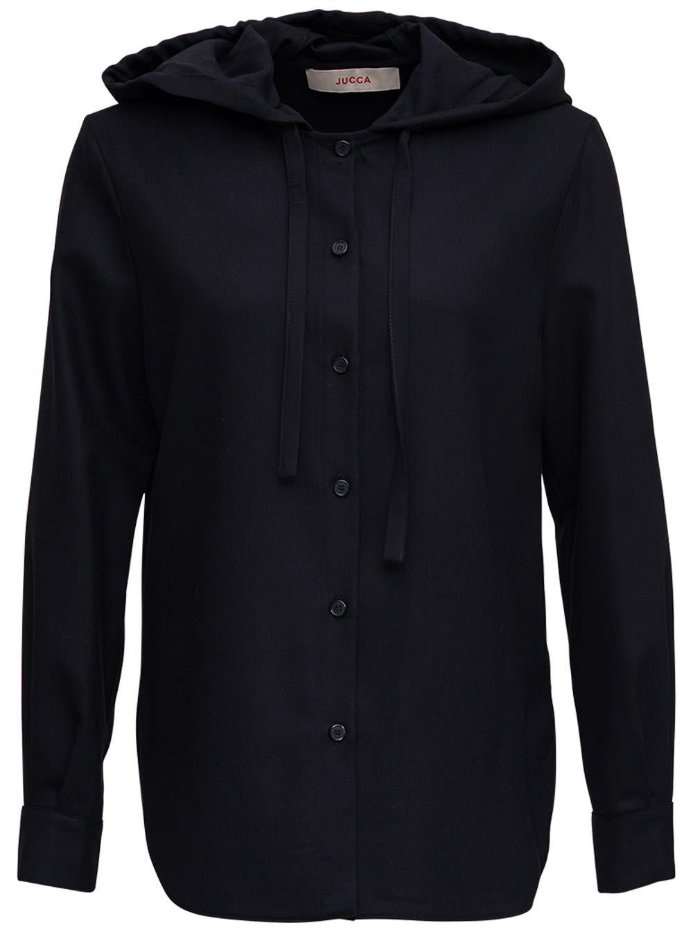 Black Wool Blend Hooded Shirt