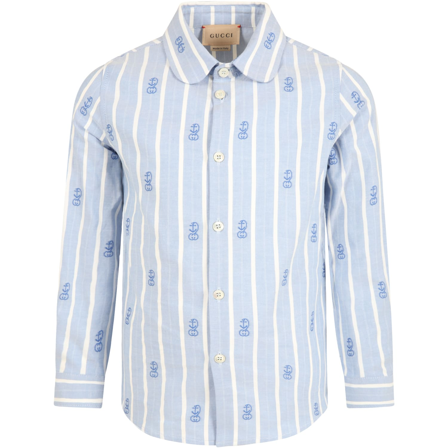 Gucci Cottons LIGHT BLUE SHIRT FOR BOY WITH ANCHORS