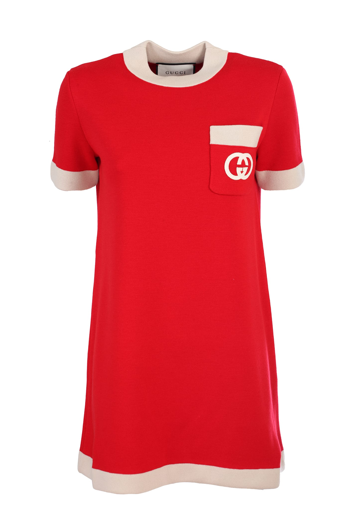 Buy Gucci red wool dress online, shop Gucci with free shipping