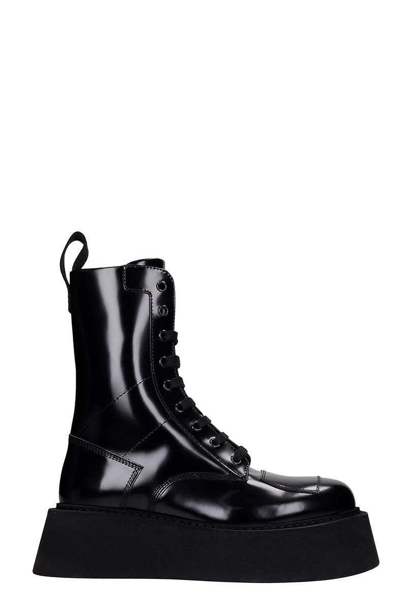 Gcds GILDA COMMANDO COMBAT BOOTS IN BLACK LEATHER