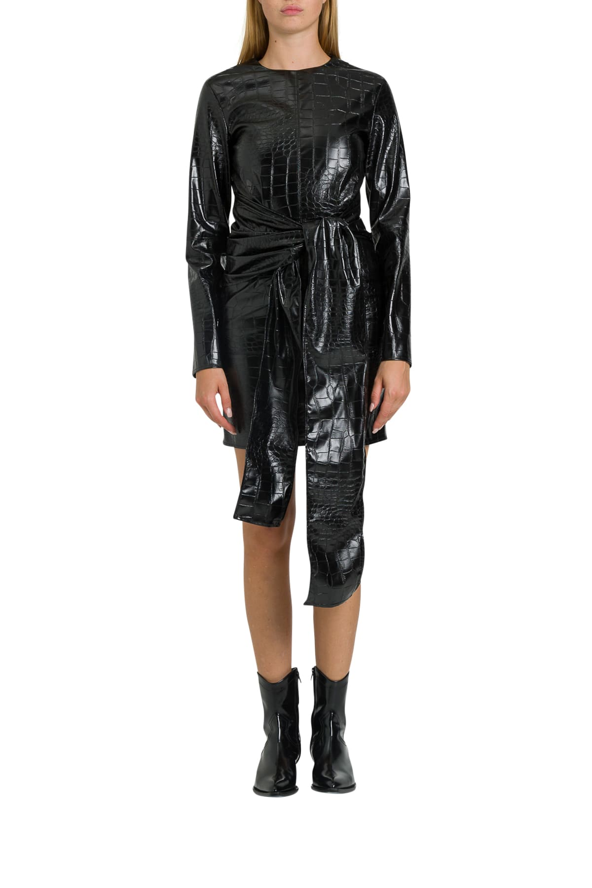 MSGM Cocco Printed Faux Leather Dress
