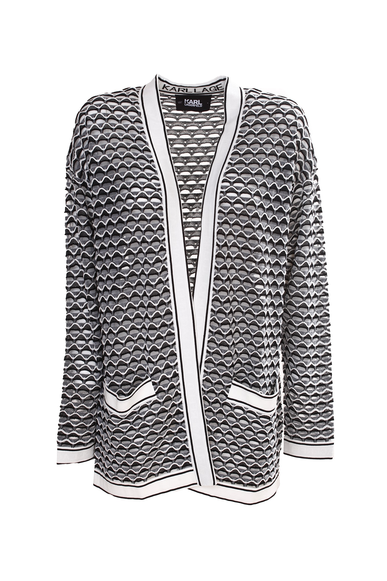Karl Lagerfeld TWO-TONE CARDIGAN. NECK