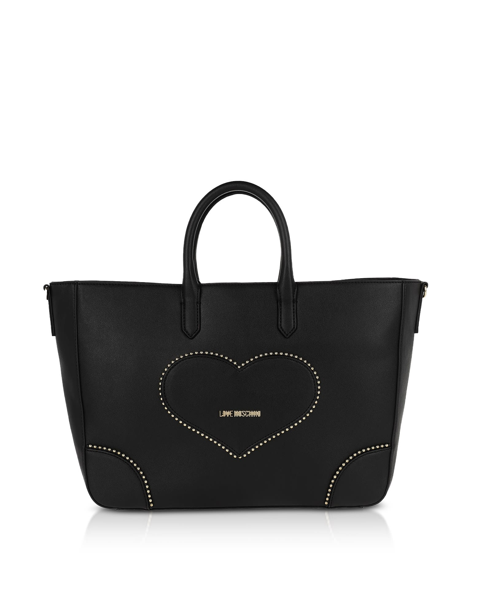 Love Moschino BLACK ECO-LEATHER HEART TOTE BAG