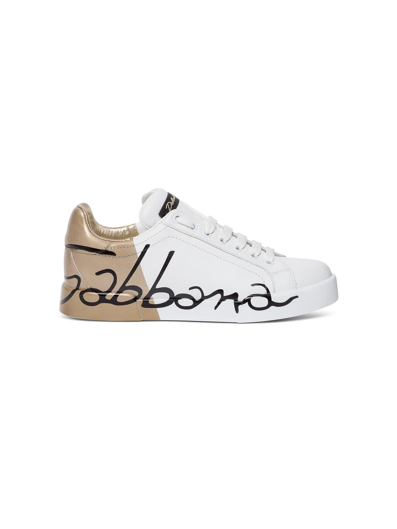 Dolce & Gabbana LEATHER AND PATENT PORTOFINO SNEAKERS