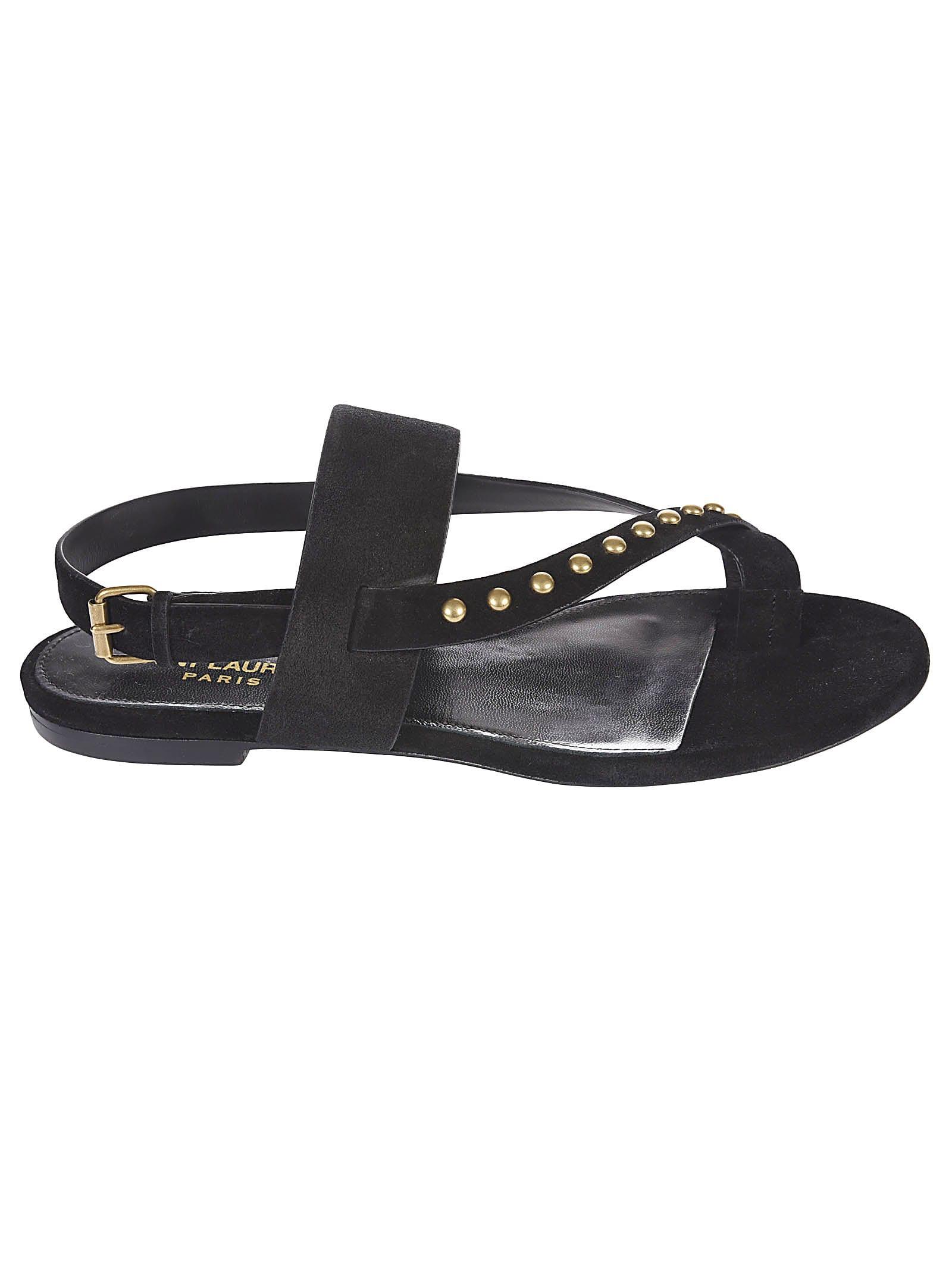 Saint Laurent Gia Studs Flat Sandals In Black