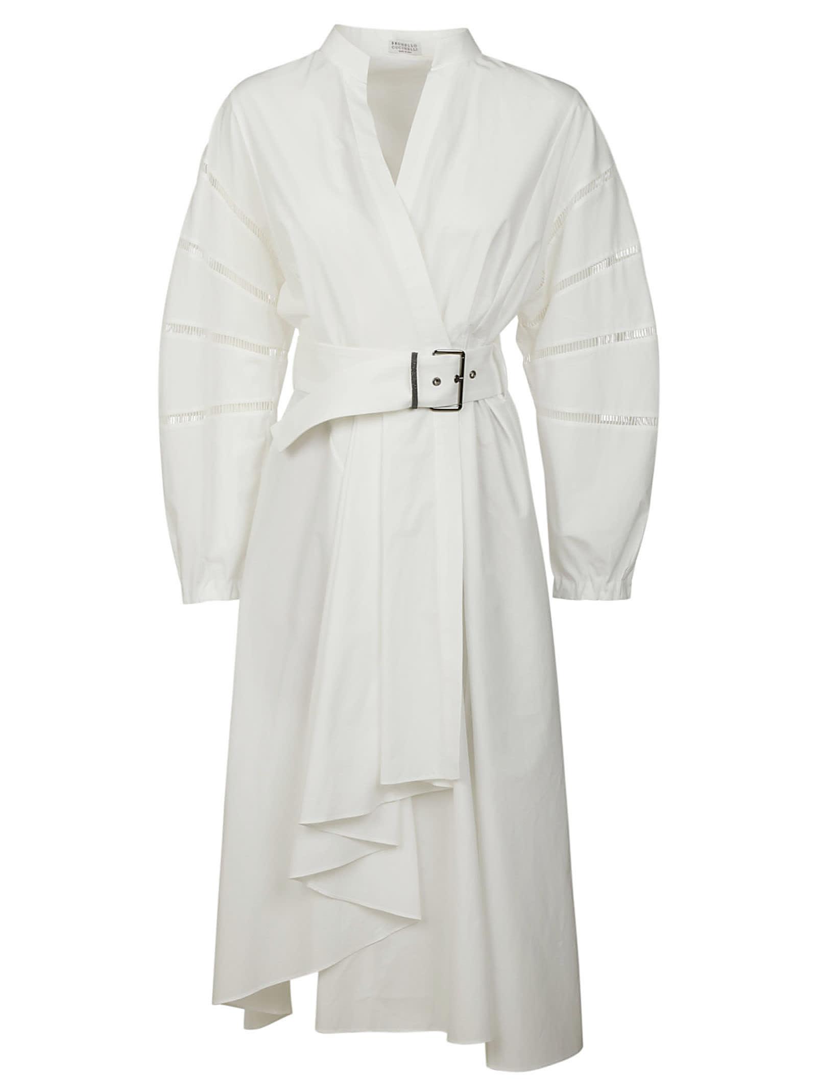Brunello Cucinelli Asymmetric Belted Long Dress