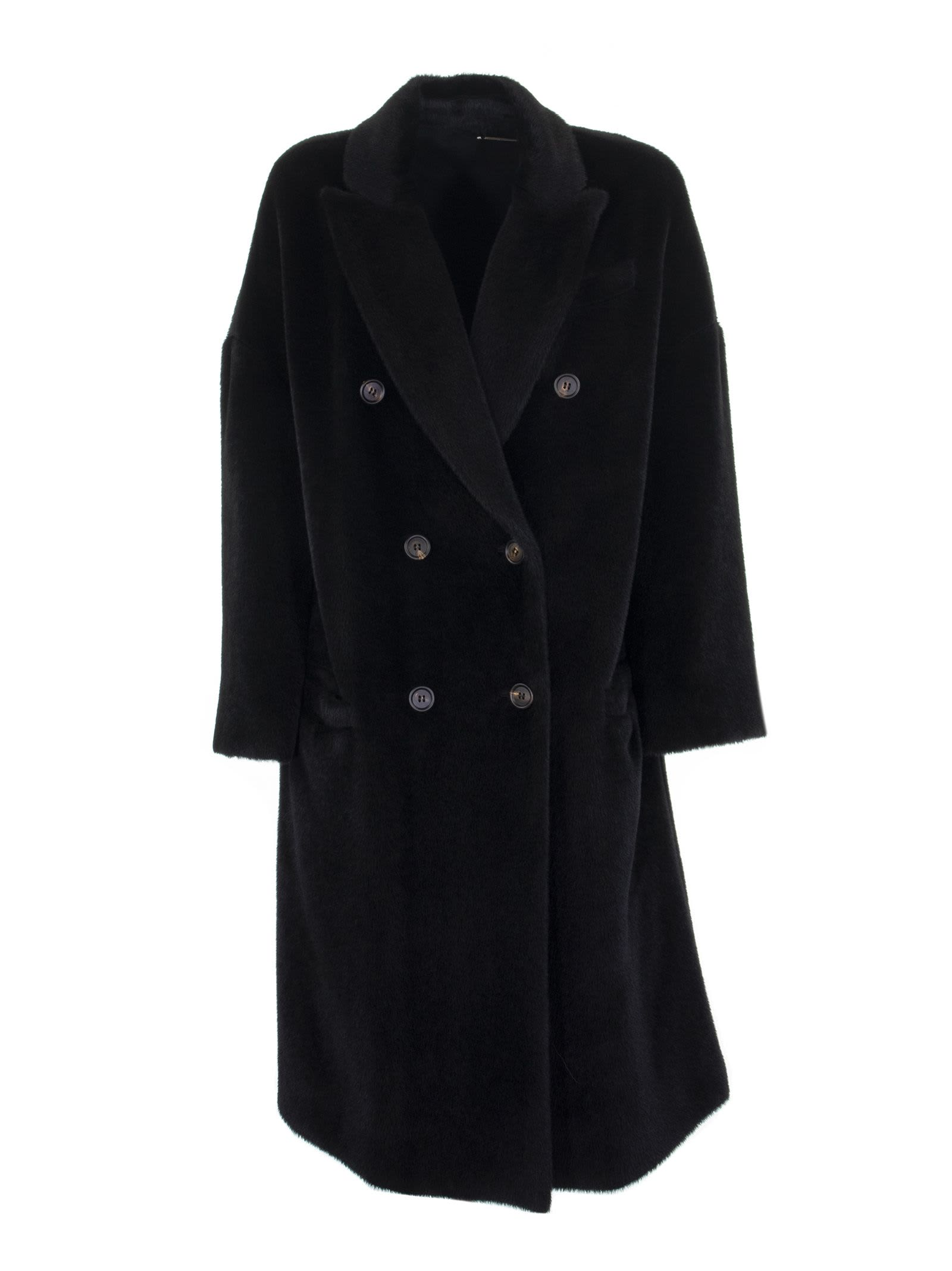 Brunello Cucinelli Black Alpaca And Virgin Wool Coat