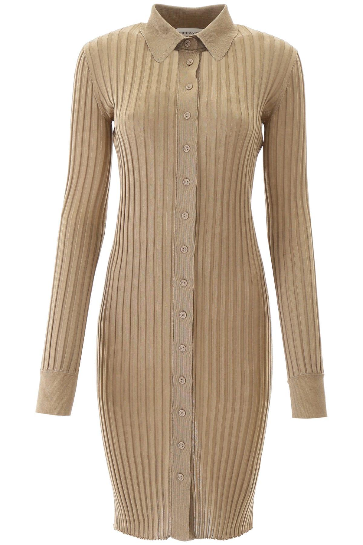 Buy Bottega Veneta Ribbed Silk Dress online, shop Bottega Veneta with free shipping