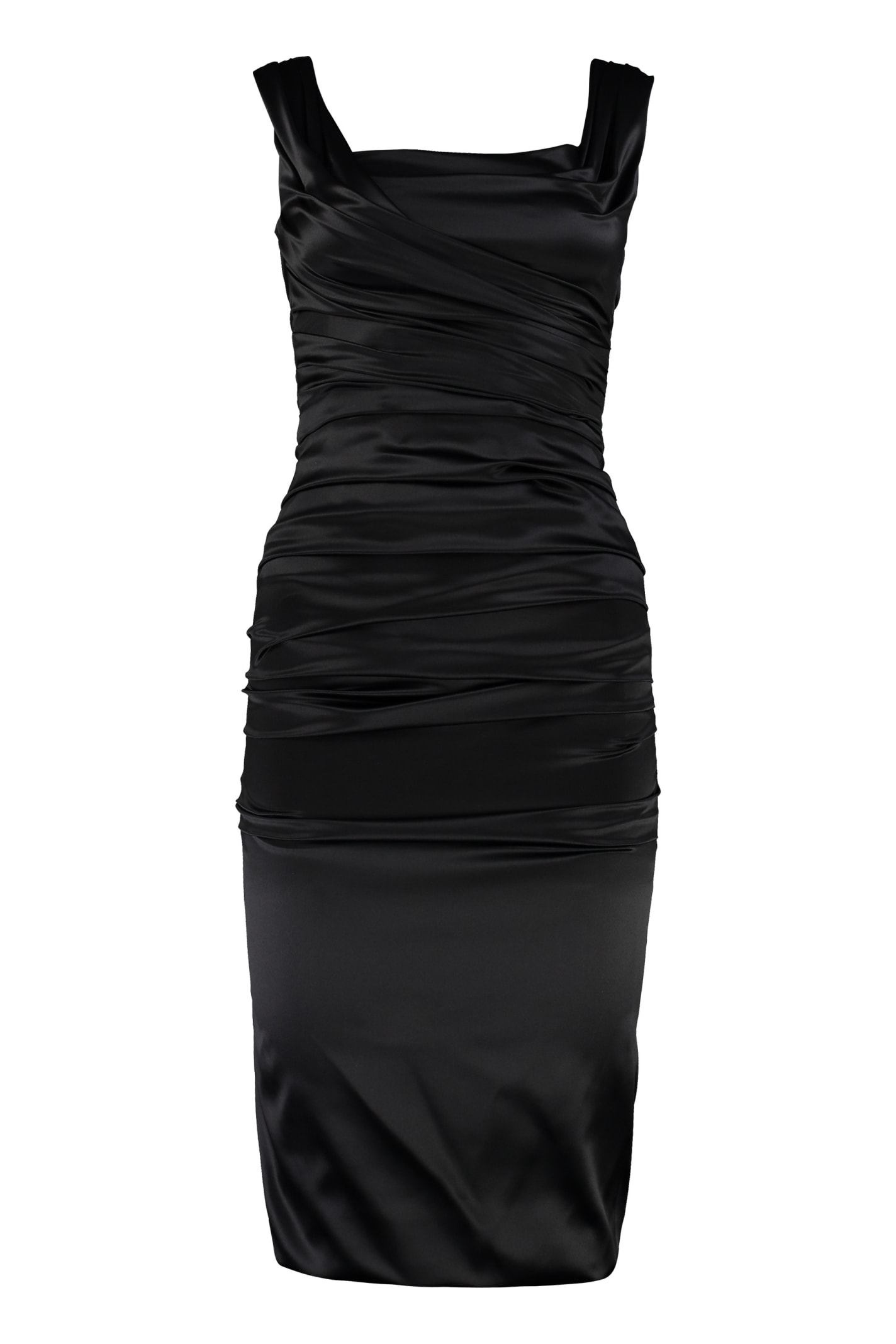 Dolce & Gabbana Draped Silk Satin Sheath-dress