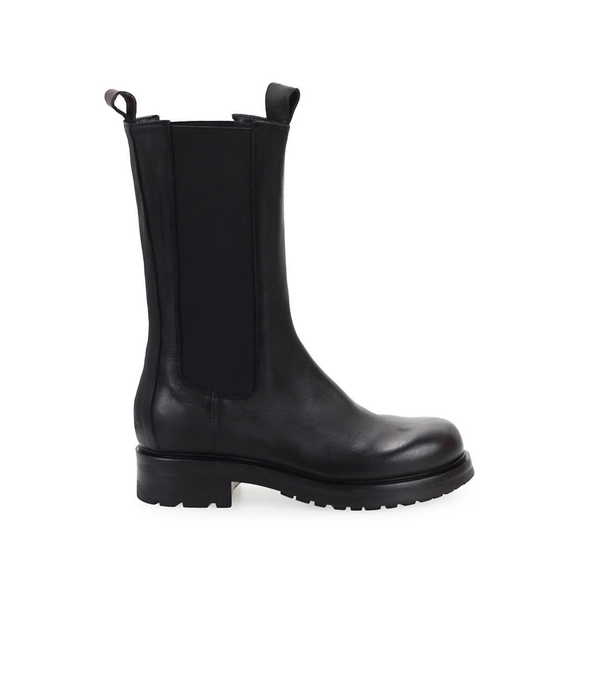 Elena Iachi Black Leather High Chelsea Boot