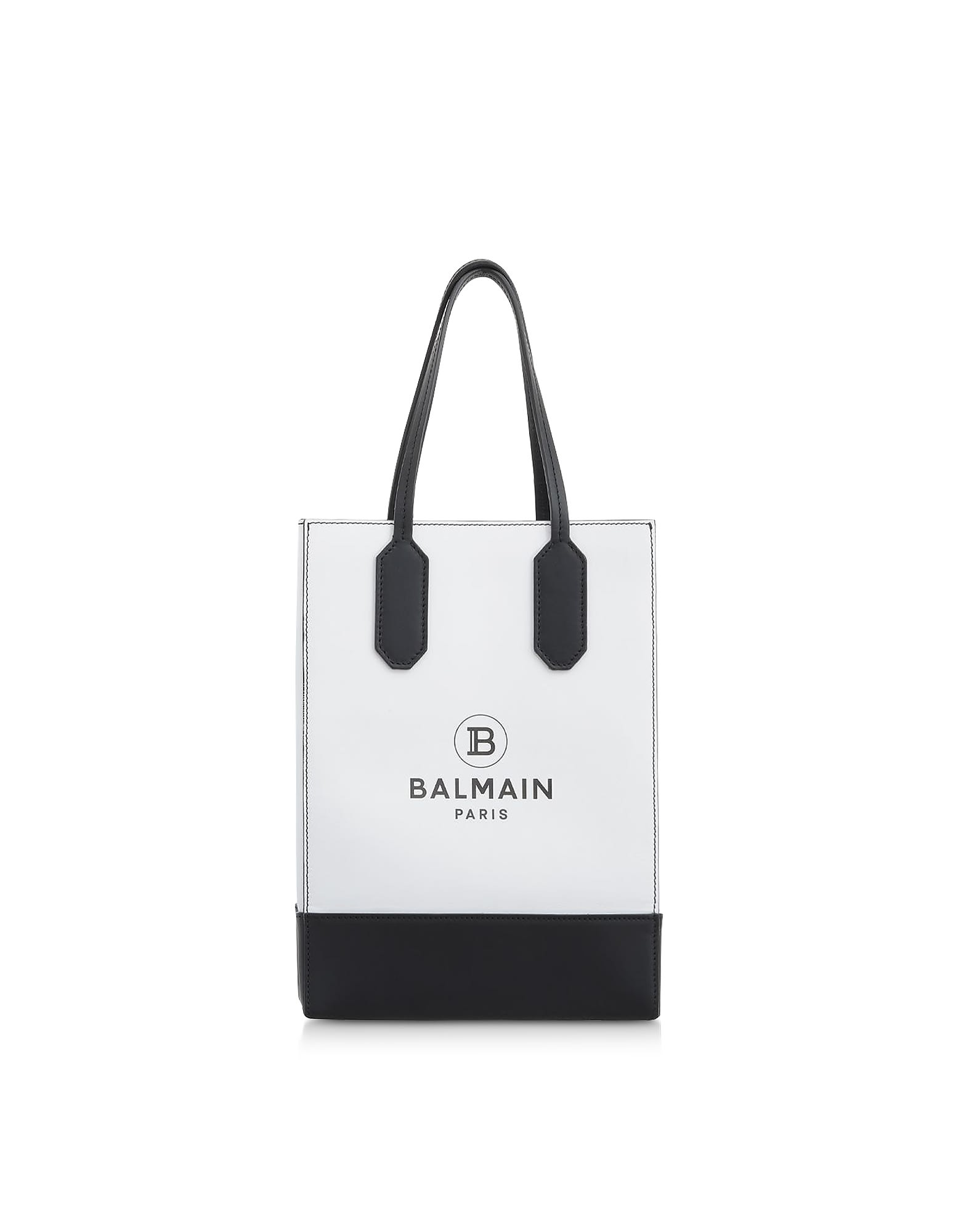 Balmain White & Black Printed Leather Shopping Bag