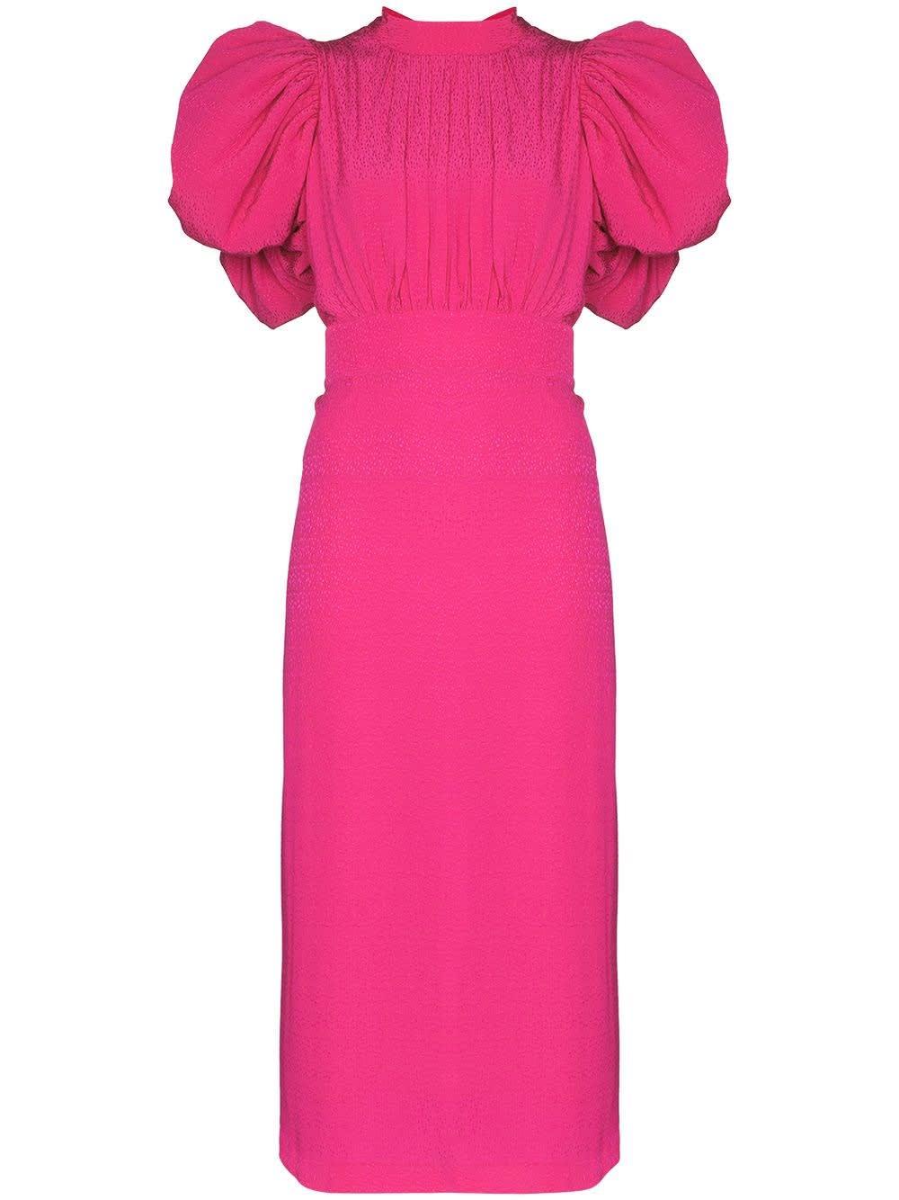 Rotate Birger Christensen Dresses PINK VISCOSE DRESS WITH BACK BOWS DETAIL