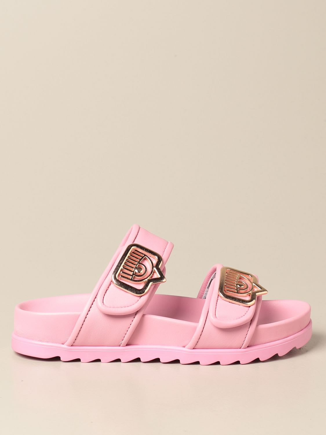 Chiara Ferragni Leathers SANDALS IN ECO-LEATHER WITH LOGO