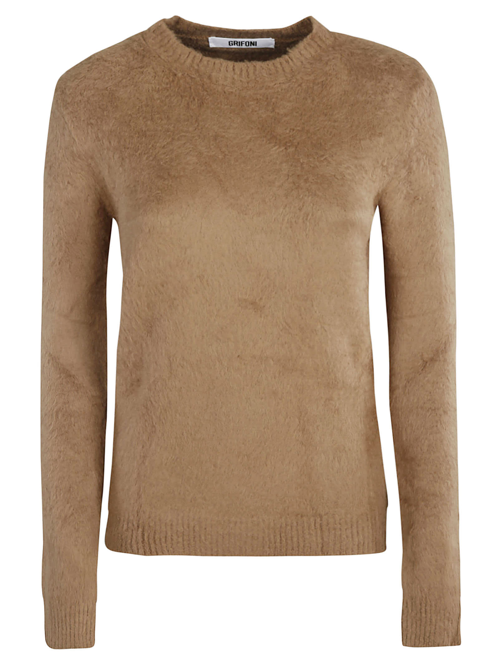 Fur Applique Ribbed Sweater