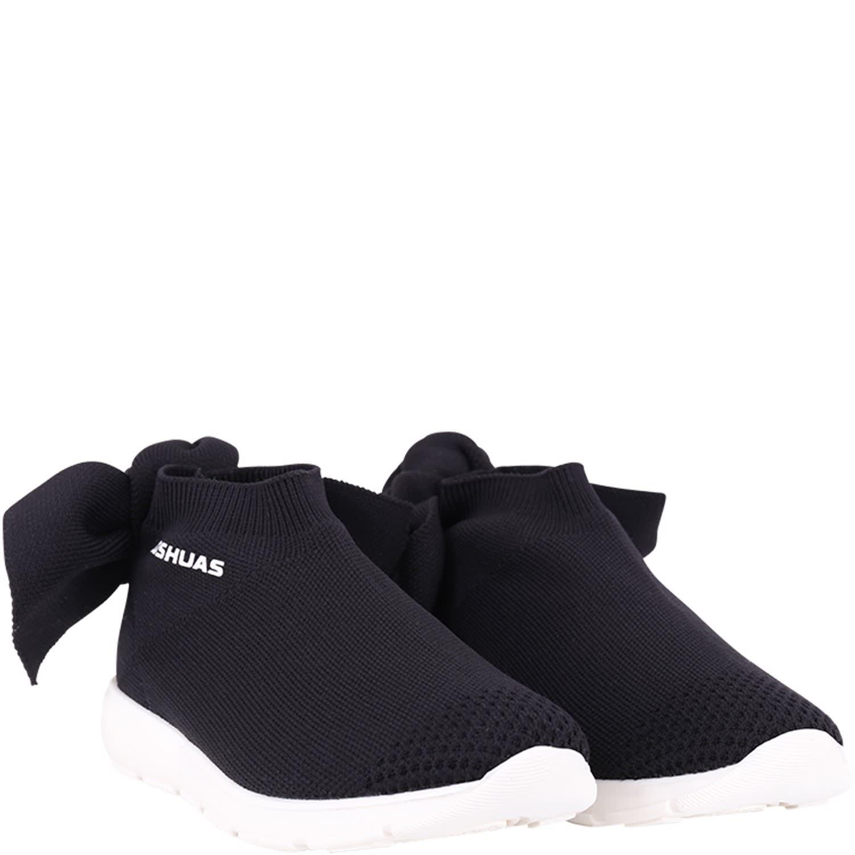 Black Sneaker For Girl With White Logo