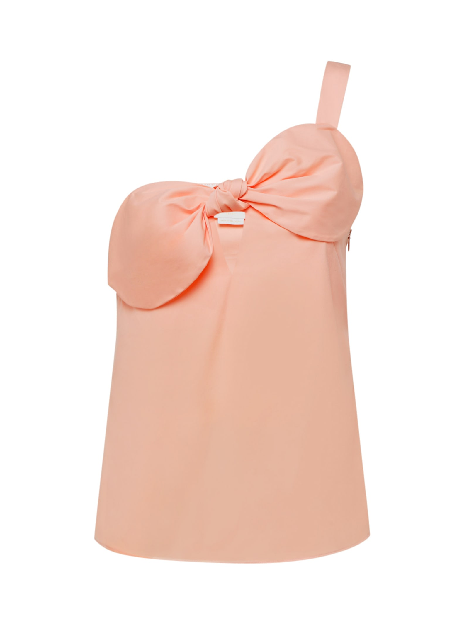 Pink One-shoulder Bow-detailed Top