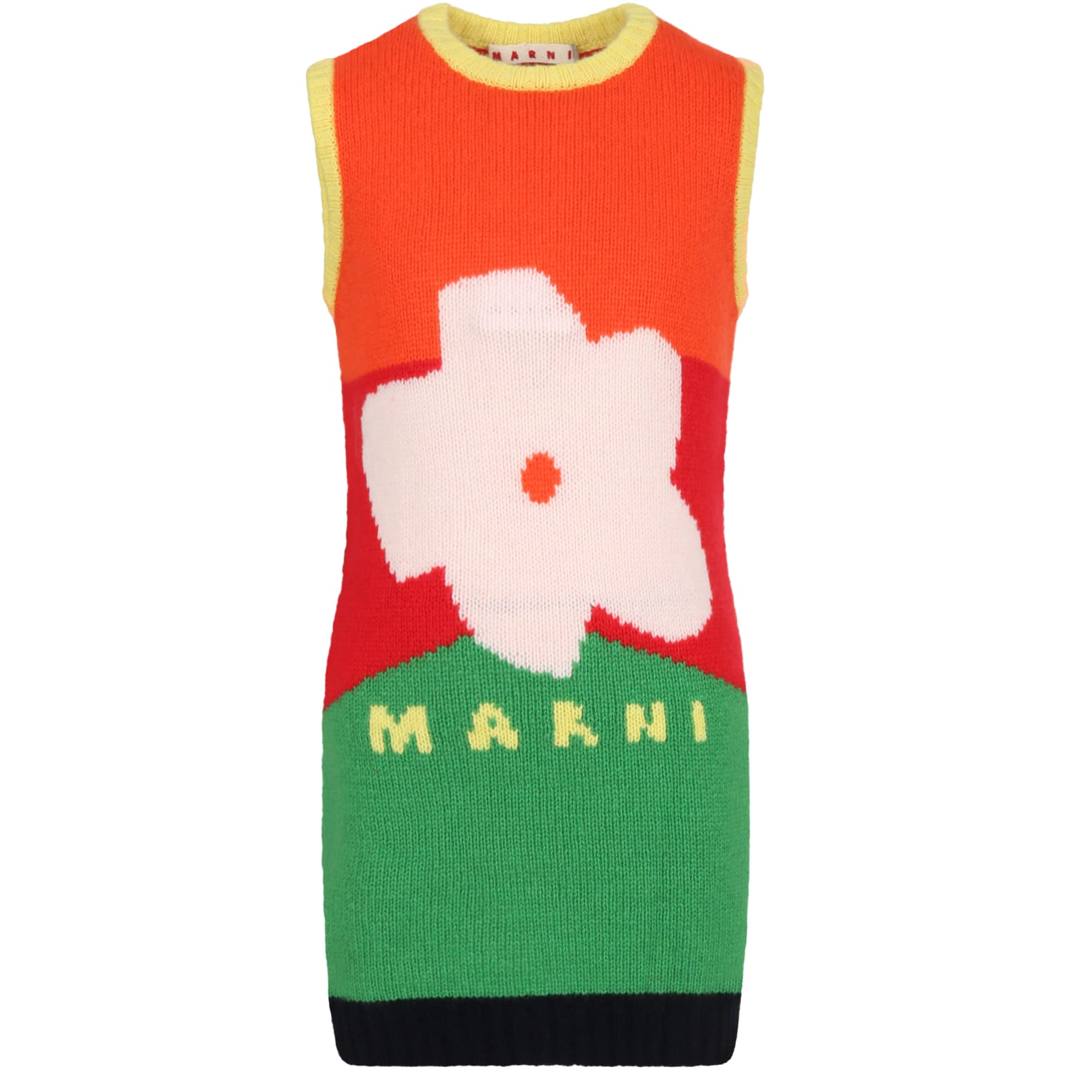 Marni Dresses MULTICOLOR DRESS FOR GIRL WITH FLOWER