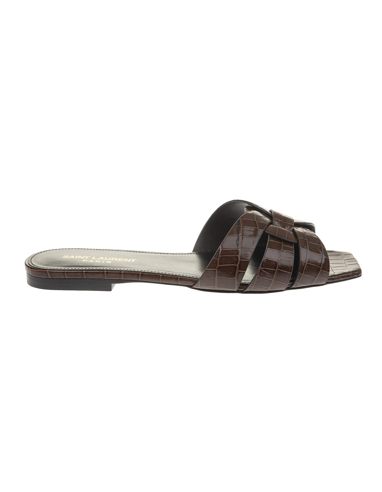 Tribute Mules In Brown Crocodile Glossy Leather