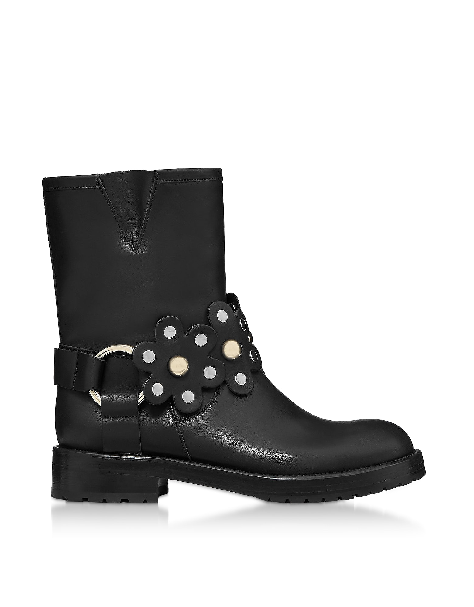 Red Valentino Black Leather Flower Puzzle Biker Boots