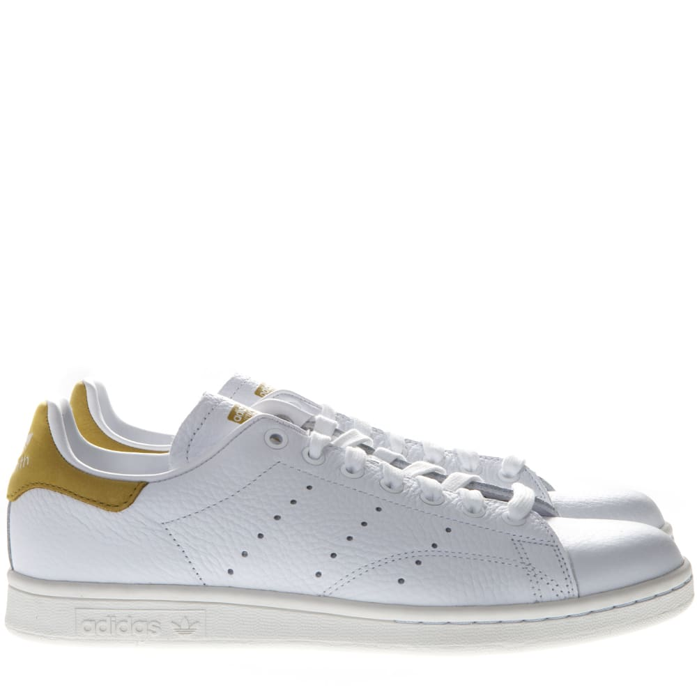 the latest 89f45 47151 Adidas Originals Stan Smith White Leather And Gold Suede Sneakers