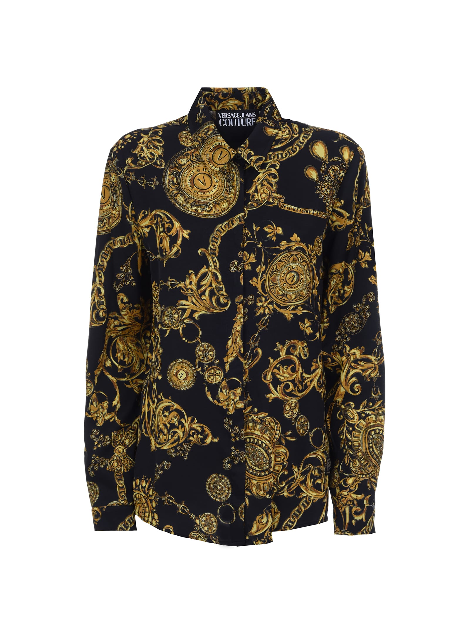 Versace Jeans Couture Baroque Print Twill Shirt In 899 + 948
