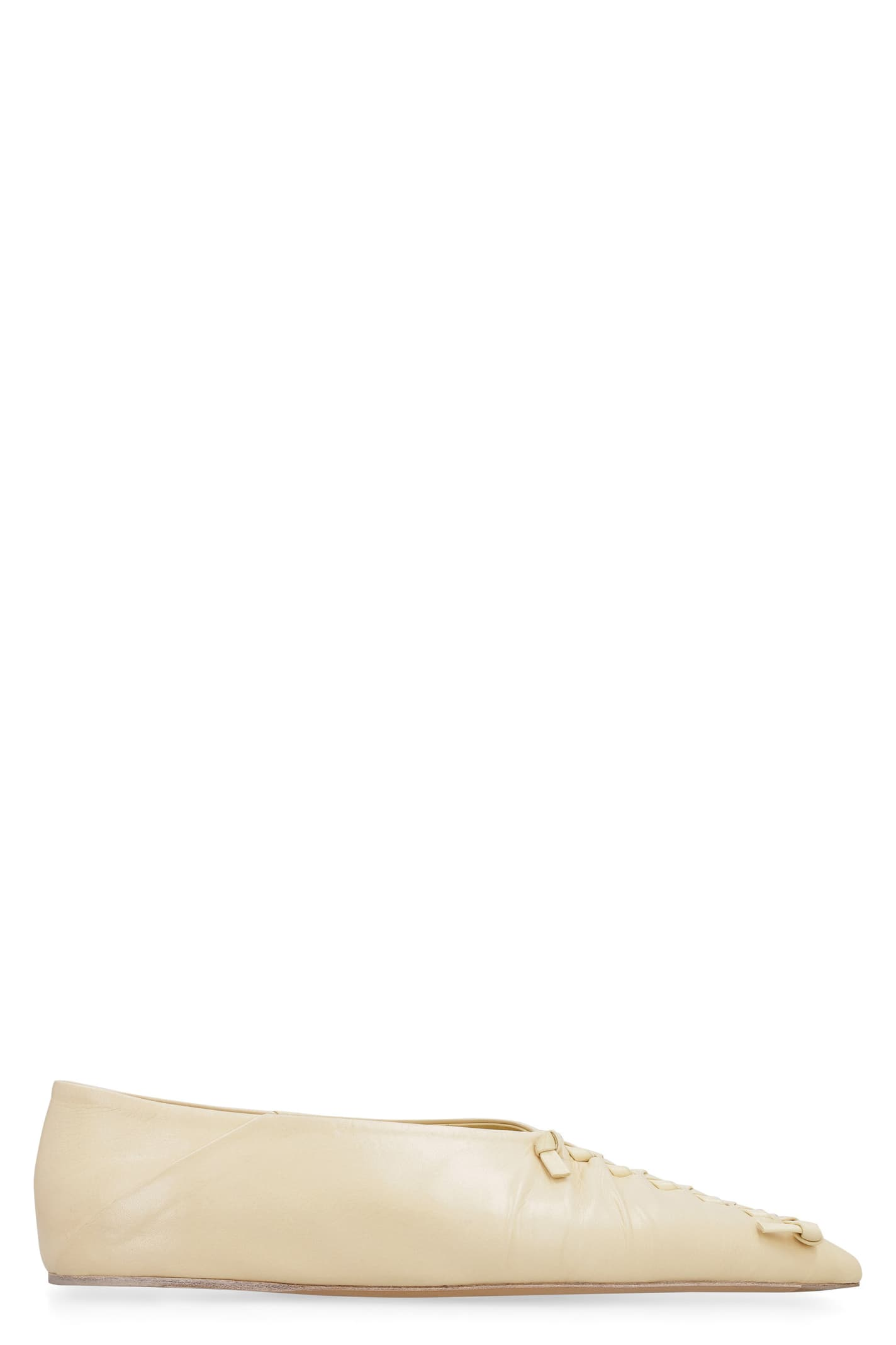Buy Jil Sander Leather Pointy-toe Ballet Flats online, shop Jil Sander shoes with free shipping