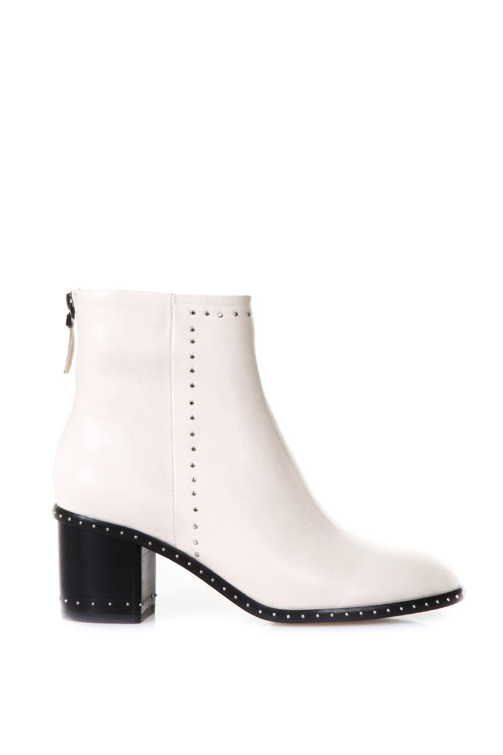 Studded Ivory Leather Ankle Boots