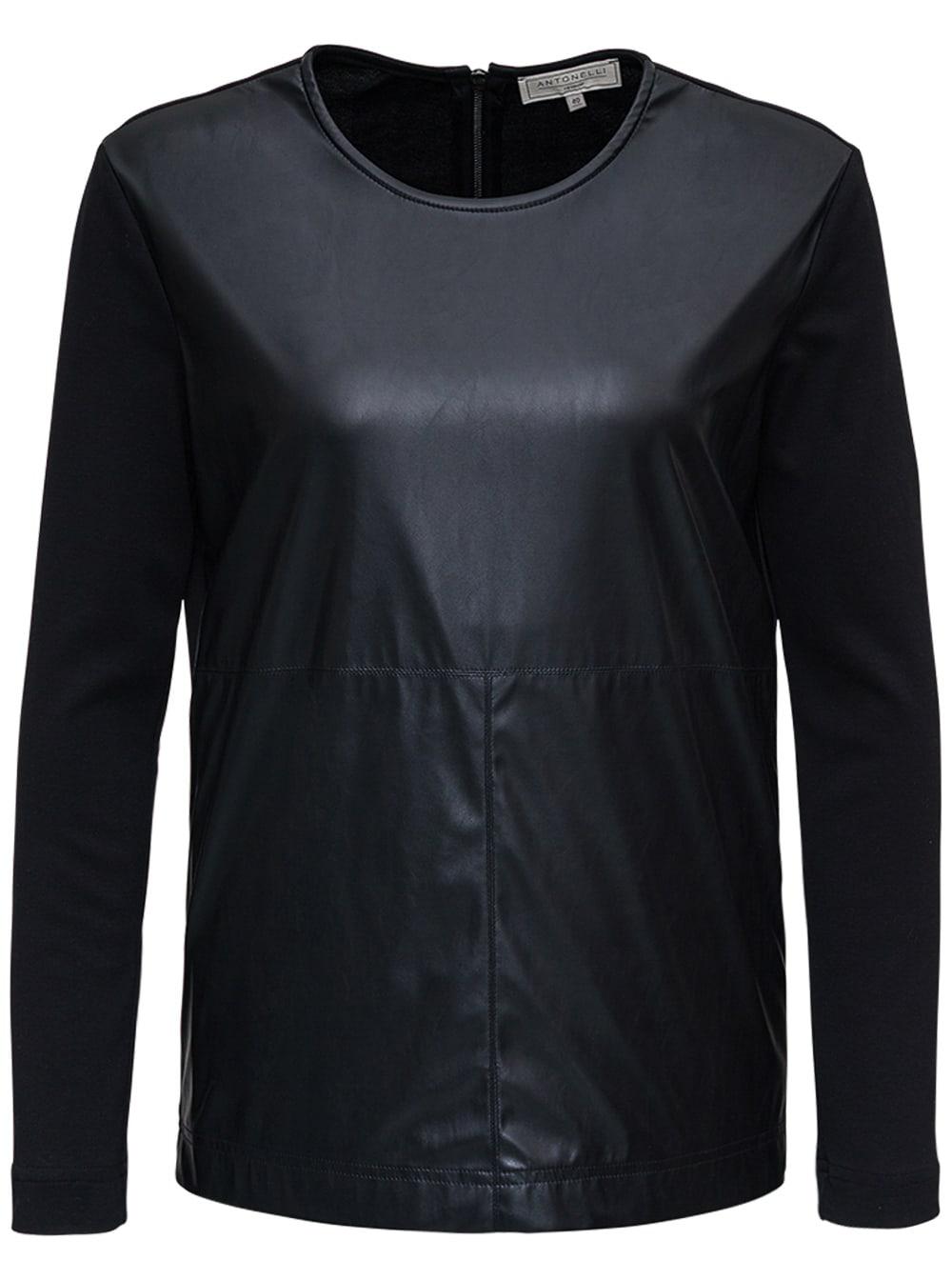 Black Leatheret Crew Neck Sweater