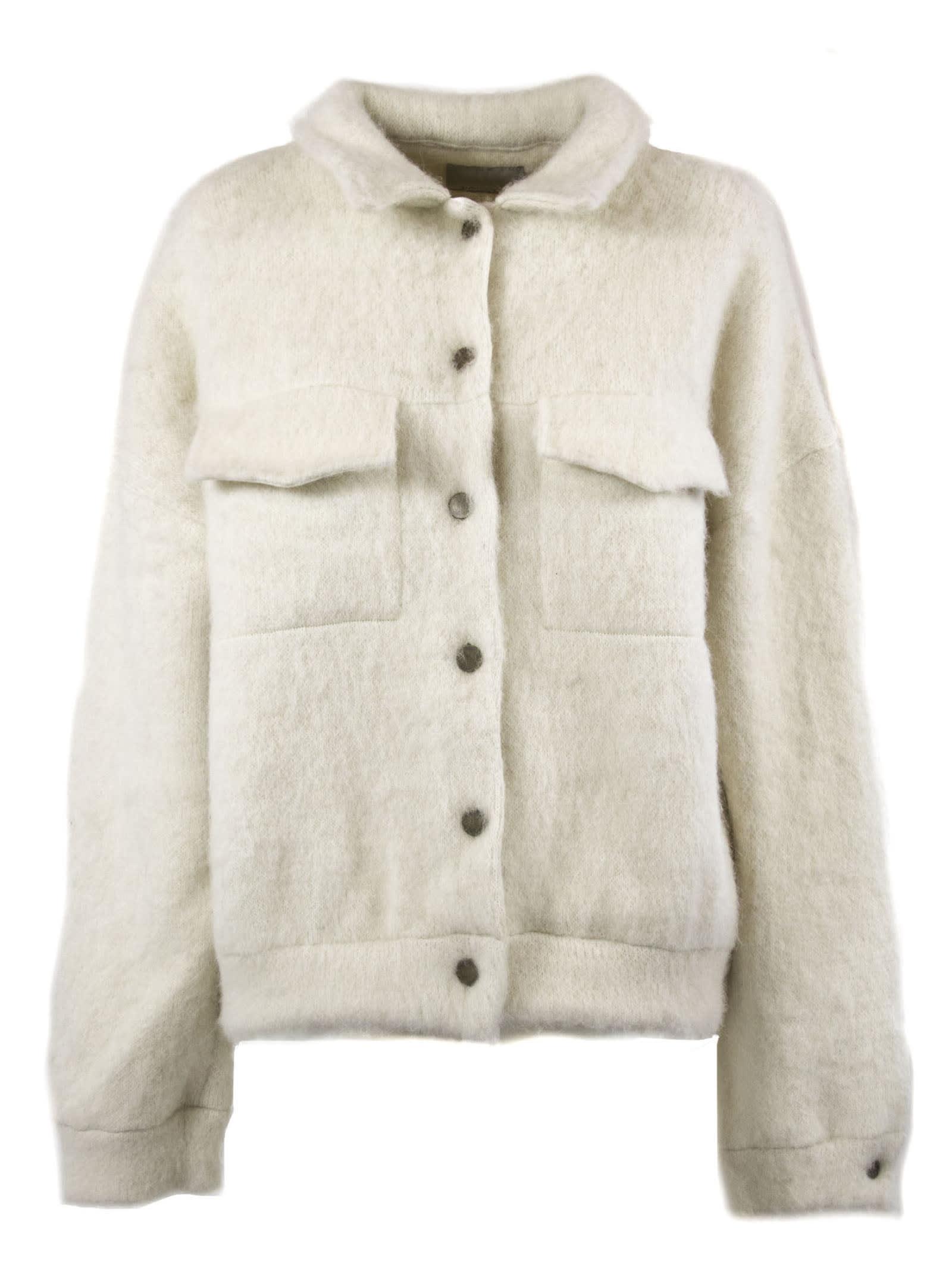 Laneus White Alpaca Jacket