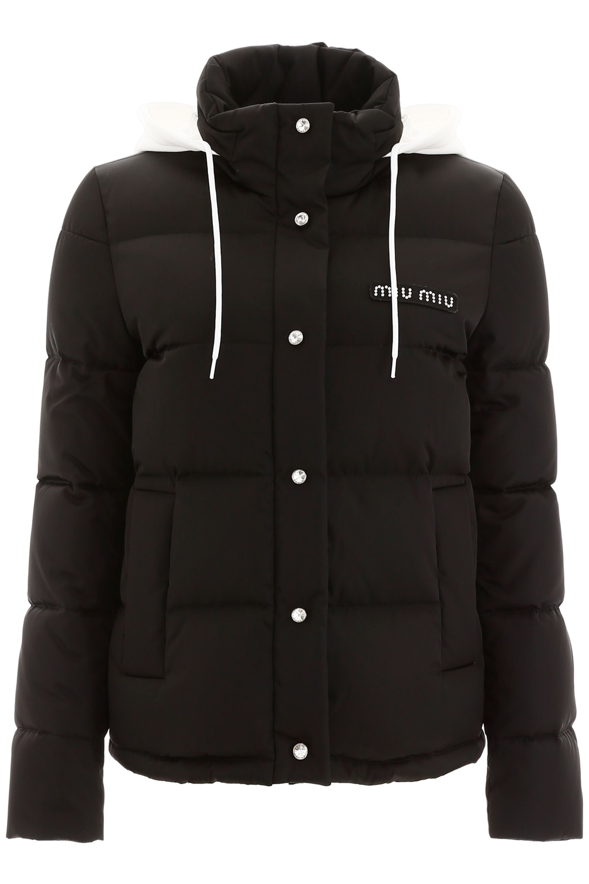 Miu Miu Logo Puffer Jacket With Crystals