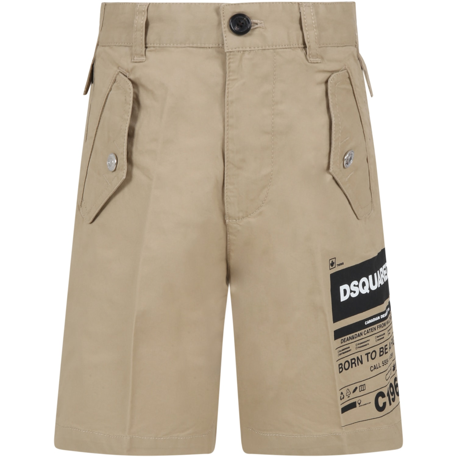 Dsquared2 Kids' Beige Short For Boy With Logo