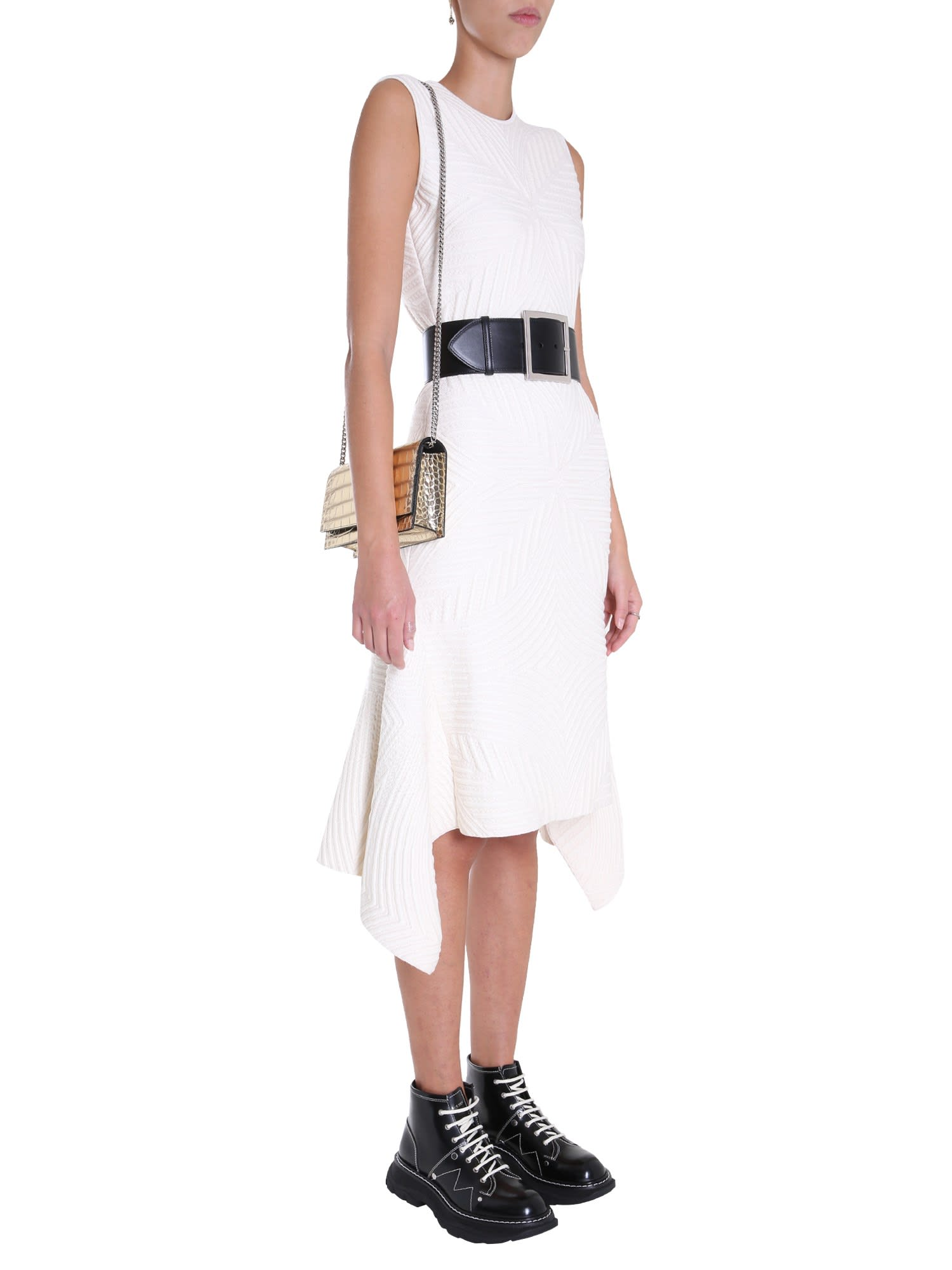 Buy Alexander McQueen Mini Dress With Asymmetric Bottom online, shop Alexander McQueen with free shipping