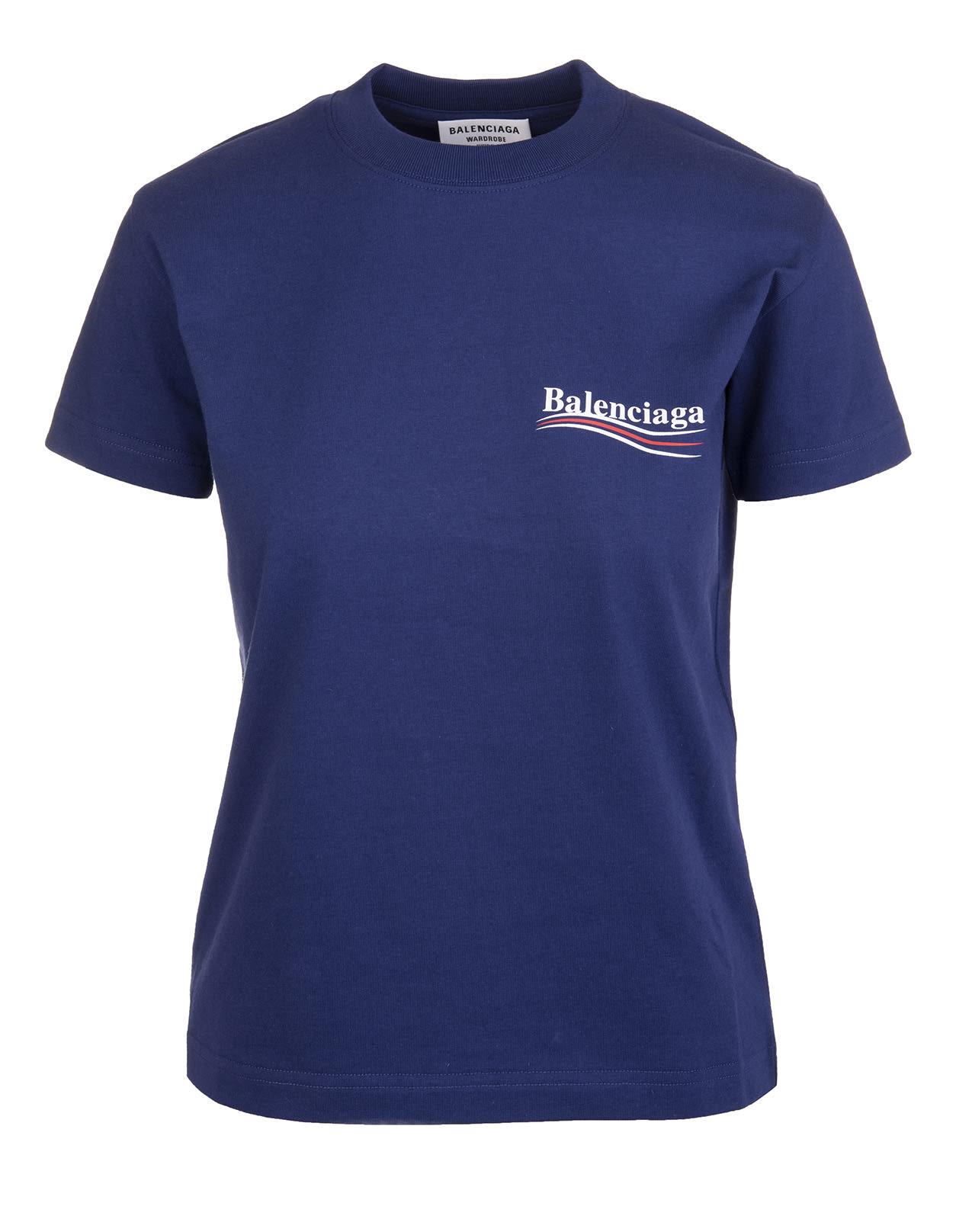 Balenciaga Shirts WOMAN BLUE POLITICAL CAMPAIGN SLIM FIT T-SHIRT