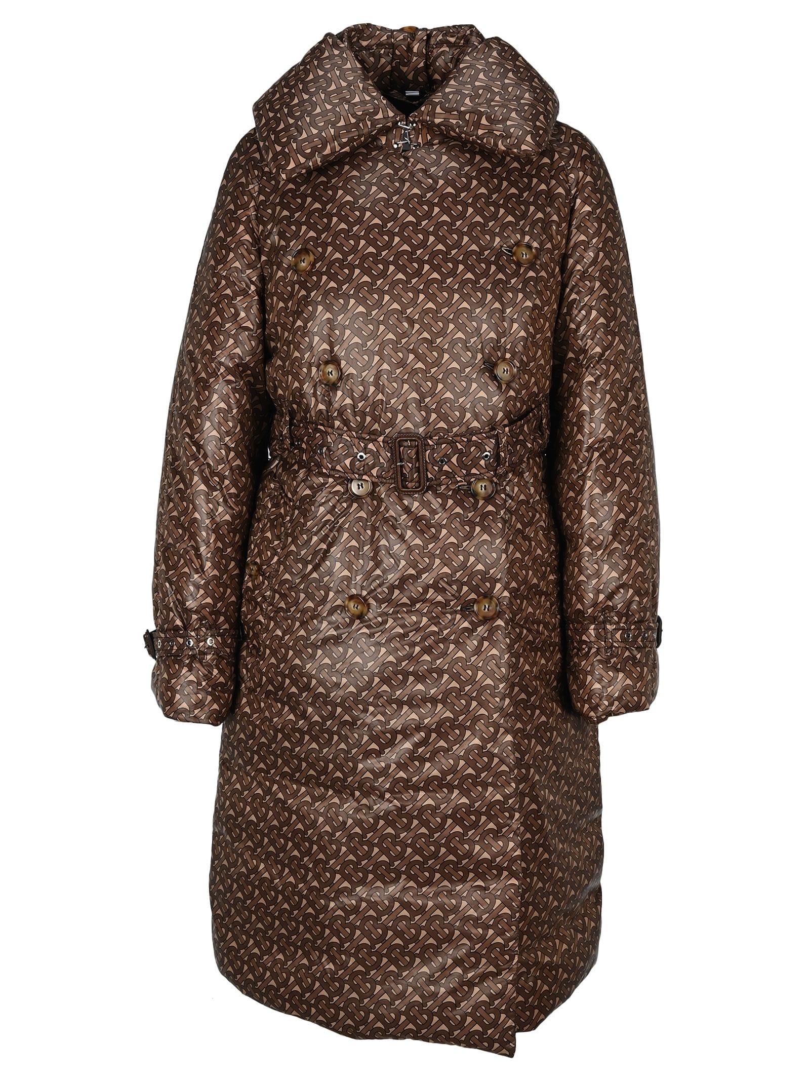 Burberry London Nylon Trench Coat With Padding And Monogram Print