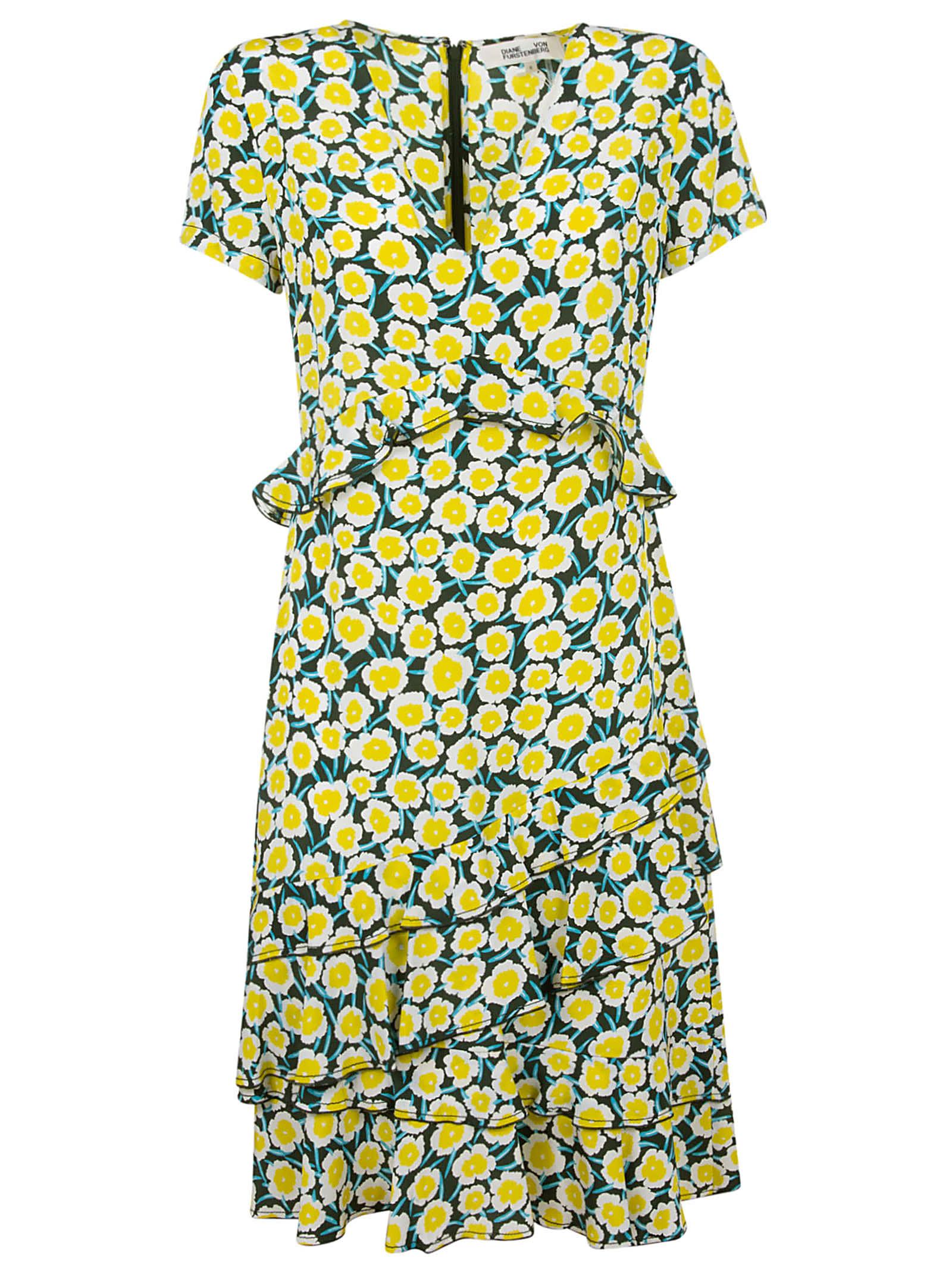 Buy Diane Von Furstenberg All-over Floral Printed Asymmetric Dress online, shop Diane Von Furstenberg with free shipping