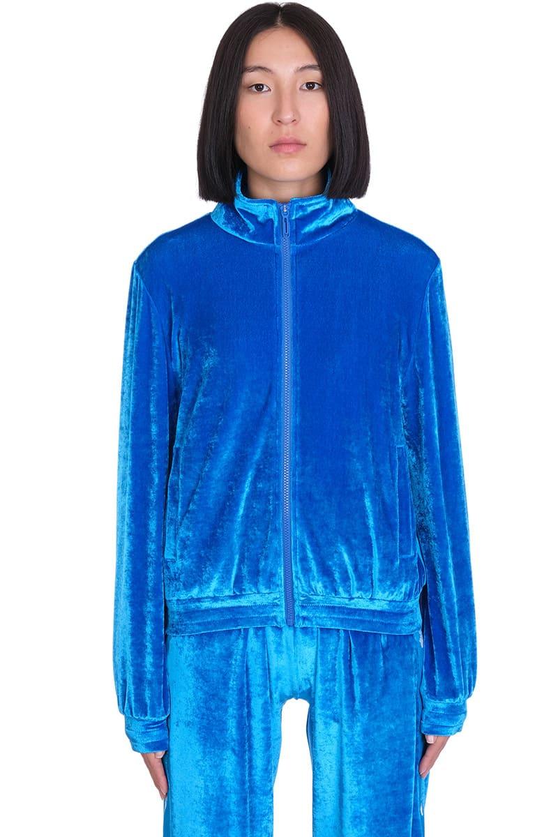 Off-White Velour Track Sweatshirt In Blue Velvet