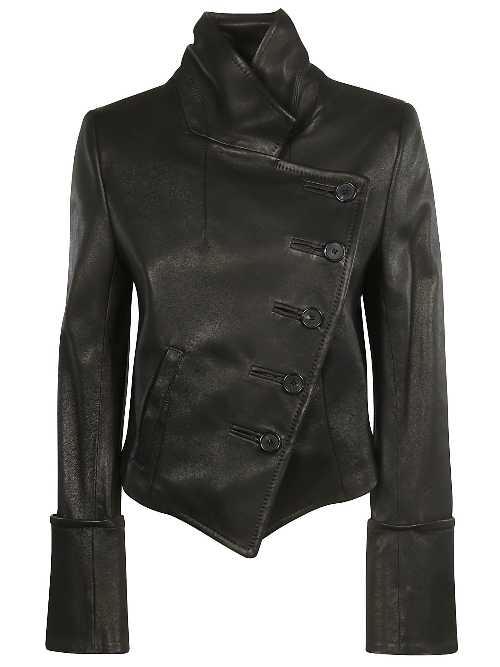Ann Demeulemeester One Sided Buttoned Leather Jacket