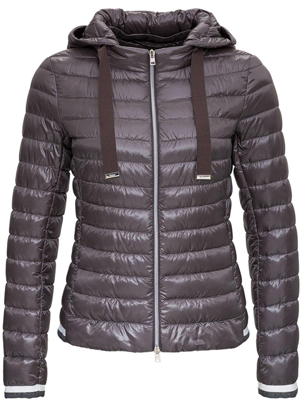 Herno Nylon Bomber Down Jacket In Grey