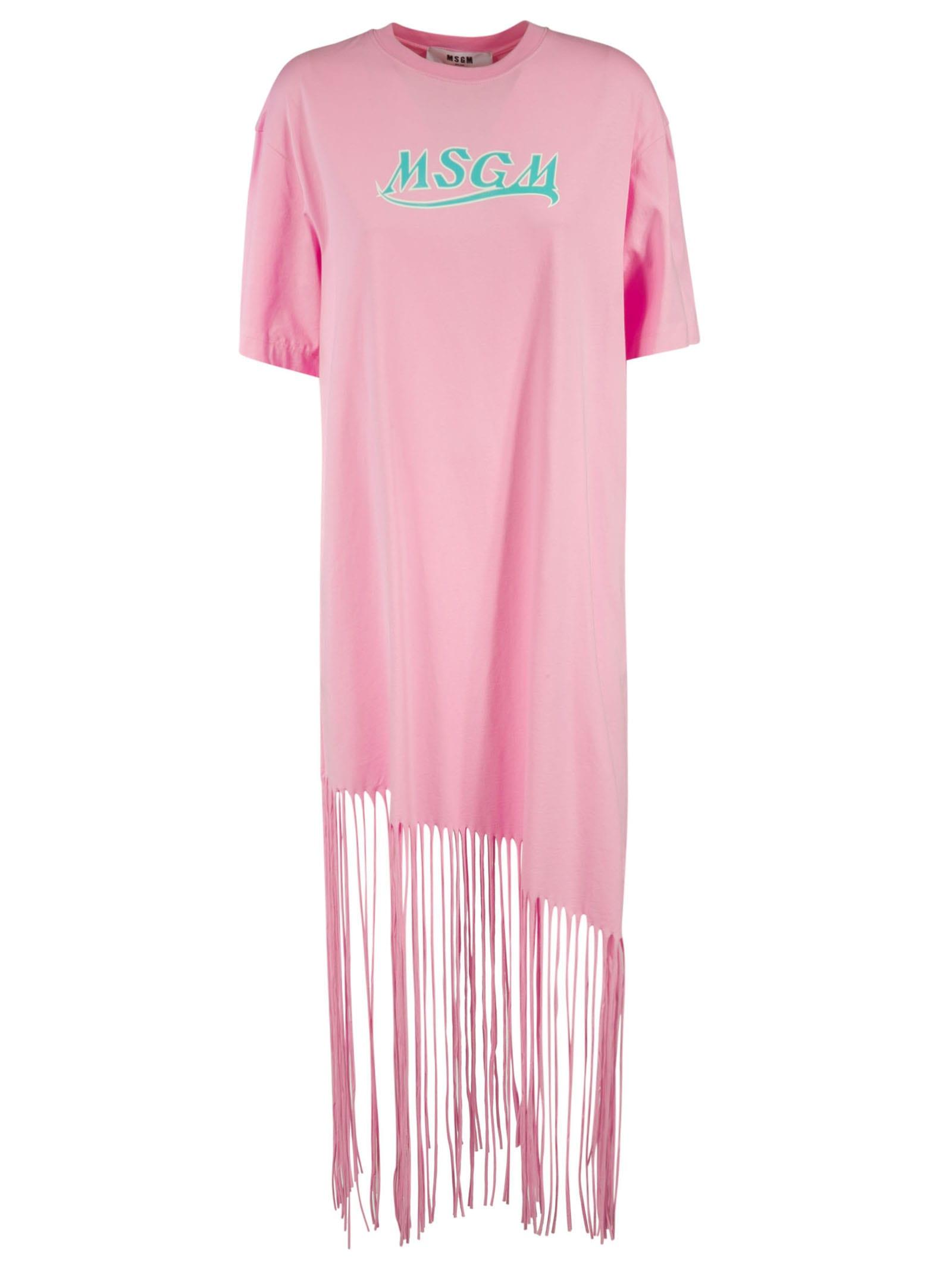 Buy Frayed Hem T-shirt Dress online, shop MSGM with free shipping