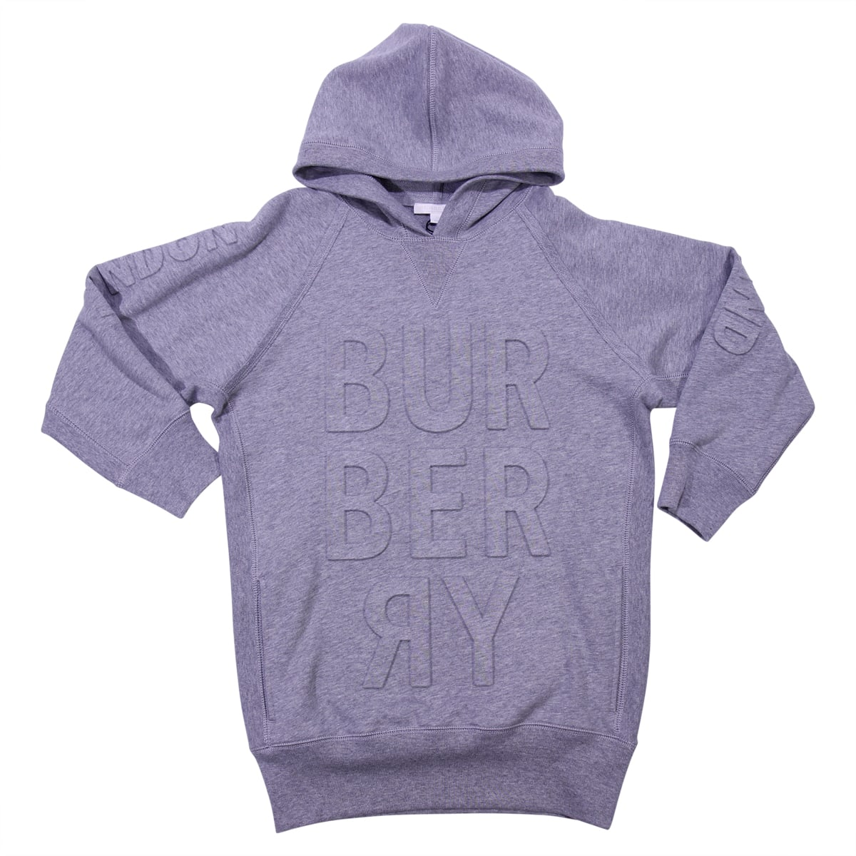 Burberry Marled Grey Cotton Hoodie Dress