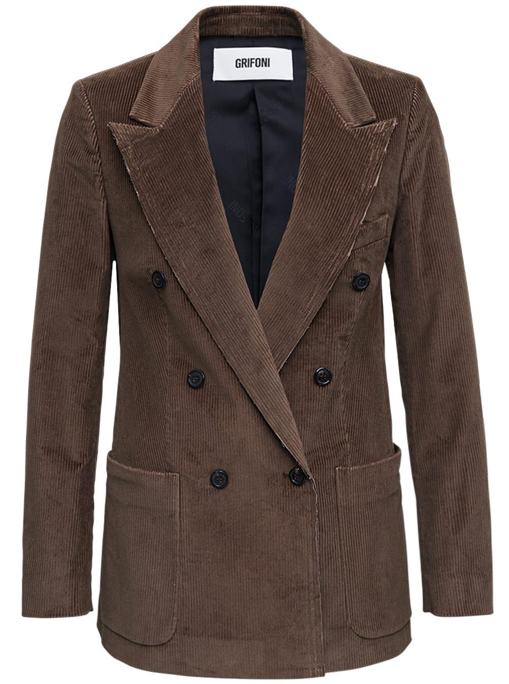 Double-breasted Brown Velvet Blazer