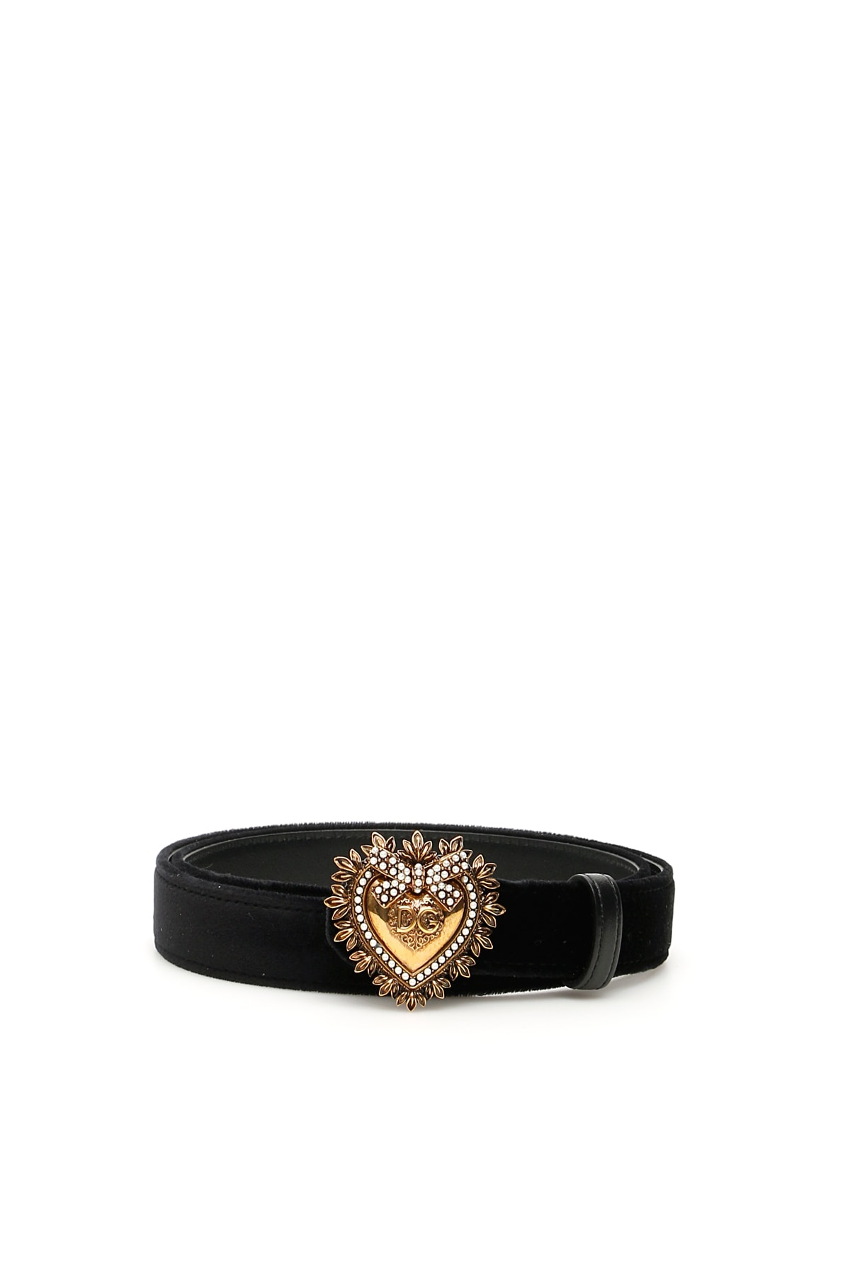 Dolce & Gabbana Devotion Leather Belt With Embellished Buckle In Black
