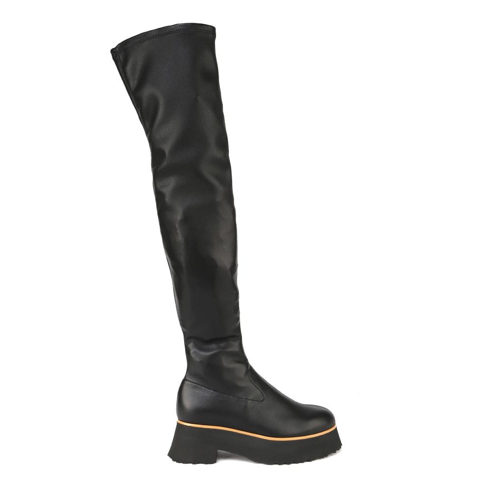 Black Cassandra Nappa Eco Stretch Boot