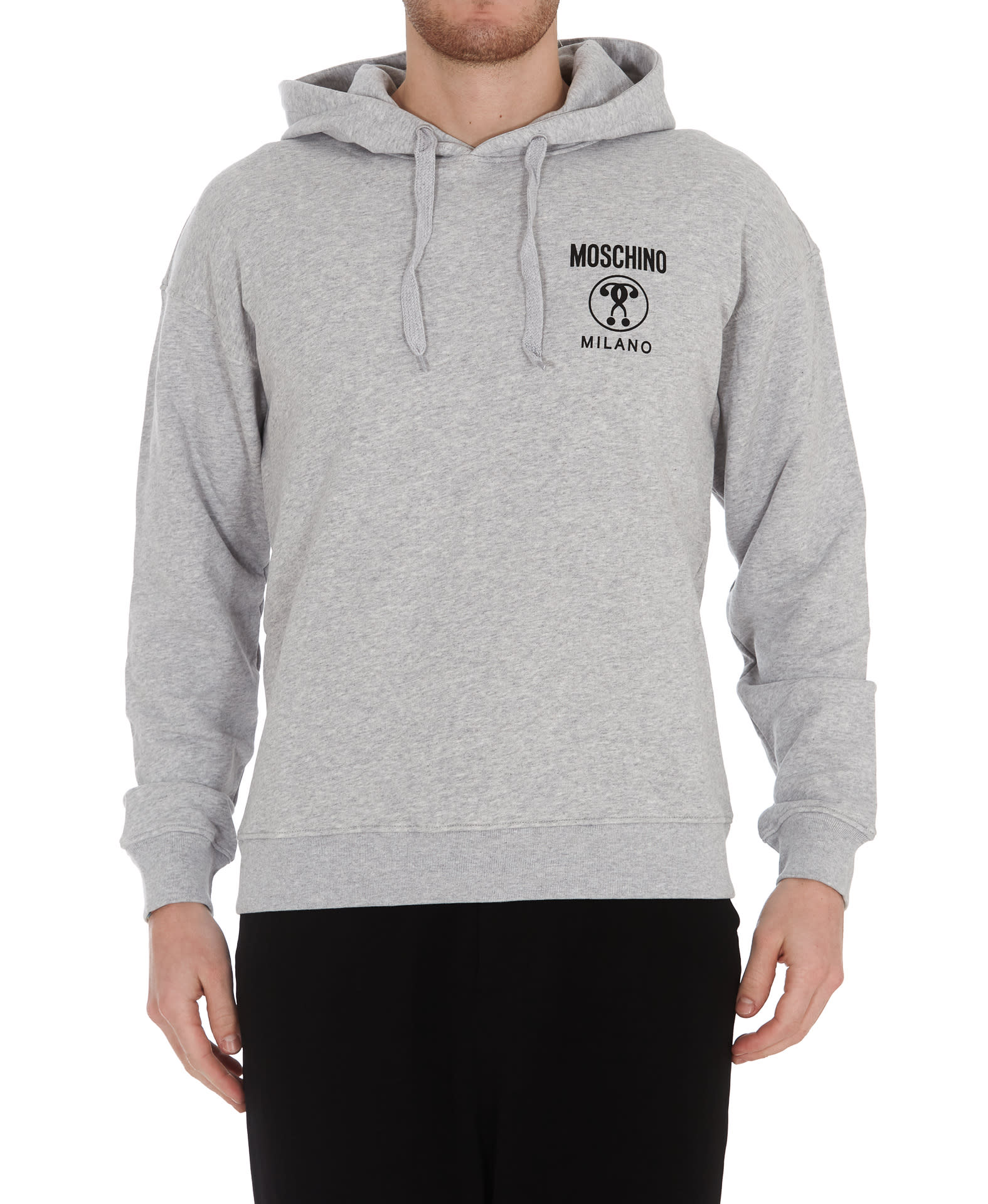Moschino Logo Hoodie In Grey