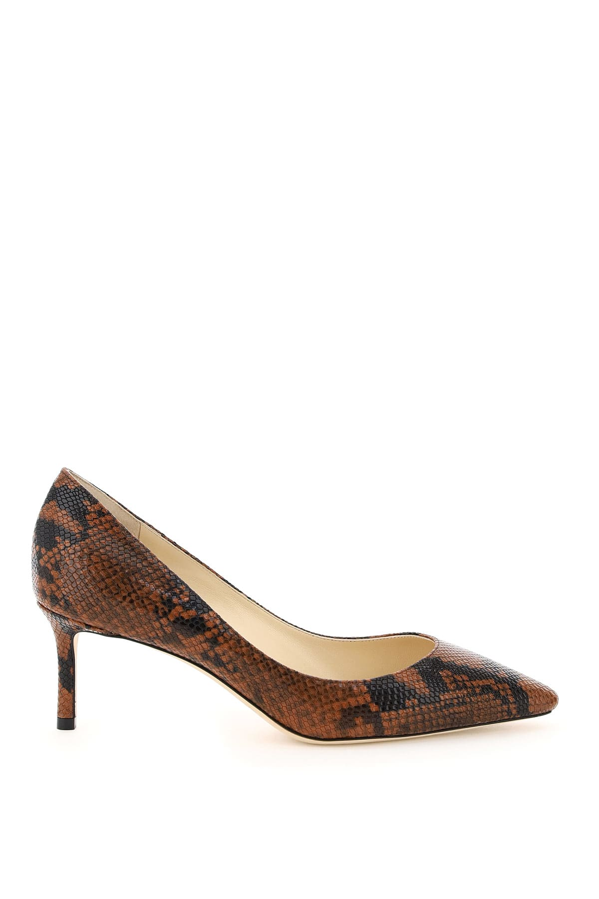 Jimmy Choo Leathers ROMY 60 PYTHON PRINT LEATHER PUMPS