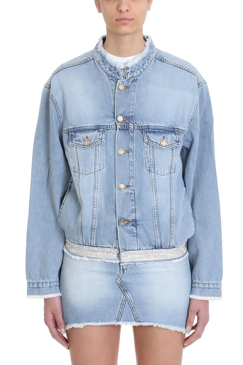 Alexandre Vauthier Crystal Belt Denim Jacket