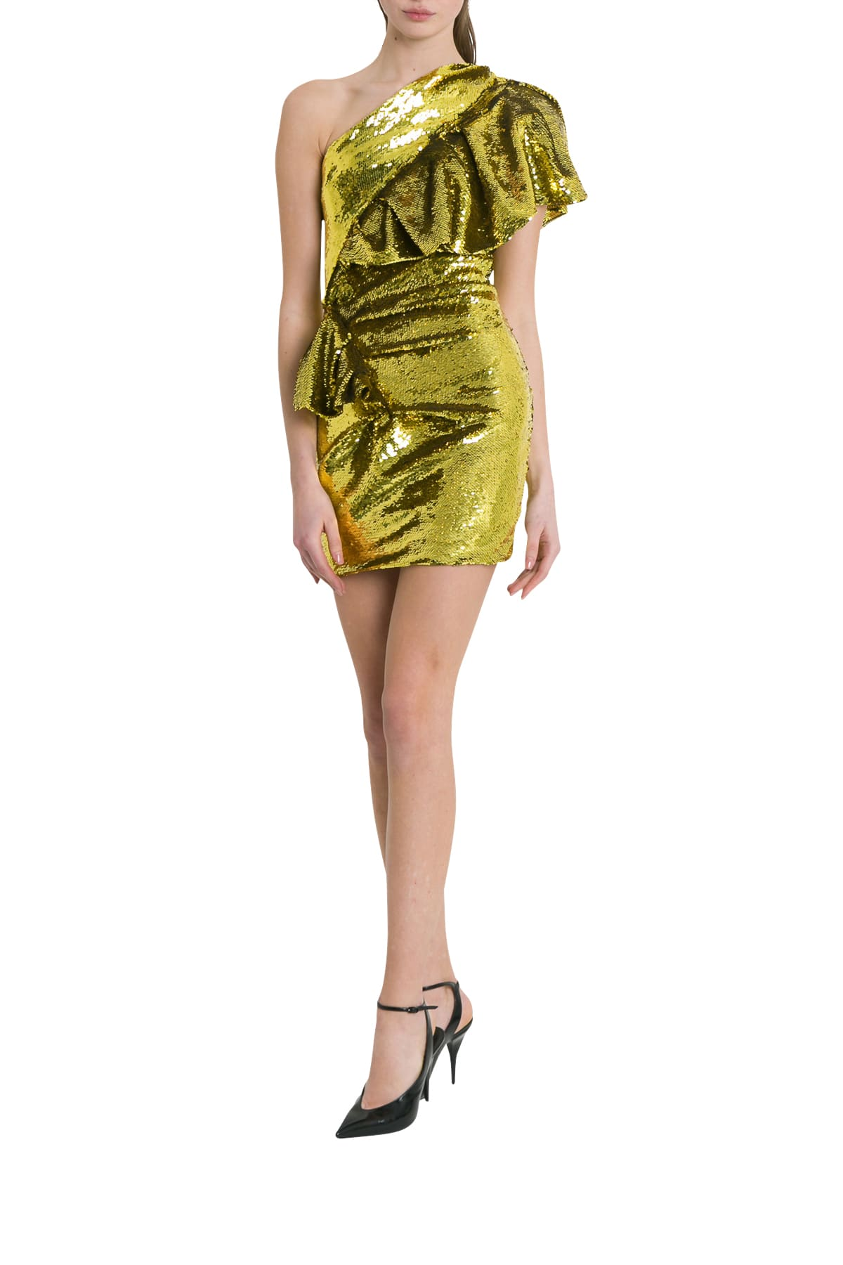Alexandre Vauthier One-shoulder Ruffled Sequin Mini Dress